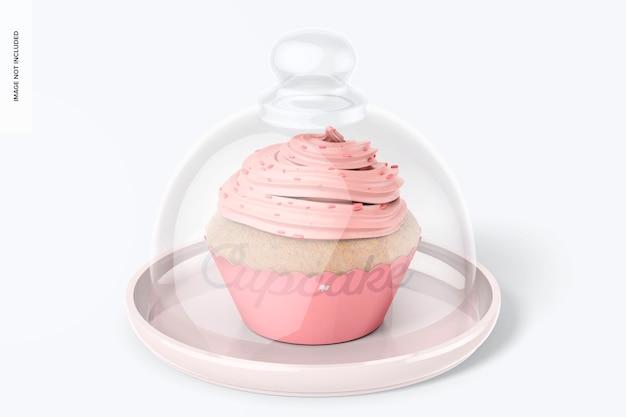 Cupcake-ständer mit kuppeldeckelmodell, vorderansicht