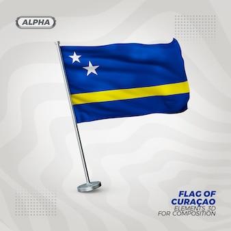 Curacao realistische 3d strukturierte flagge für komposition