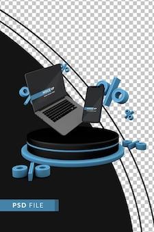 Cyber monday-konzept mit smatphone-modell und computer. 3d-rendering