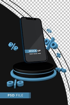 Cyber monday-konzept mit telefon und prozentualem floating