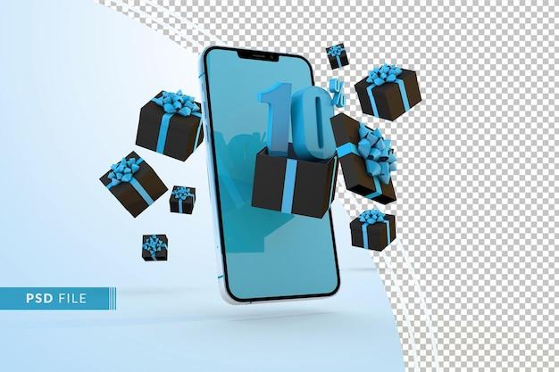 Cyber monday sale 10% rabatt auf digitale werbeaktionen mit smartphone und geschenkboxen