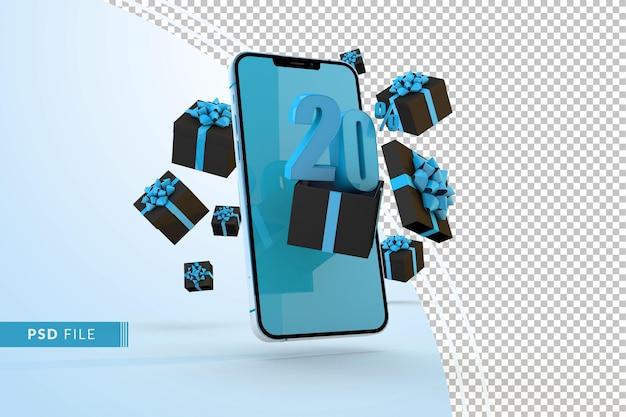 Cyber monday sale 20% rabatt auf digitale werbeaktionen mit smartphone und geschenkboxen