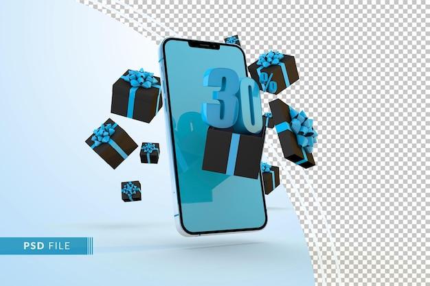 Cyber monday sale 30% rabatt auf digitale werbeaktionen mit smartphone und geschenkboxen