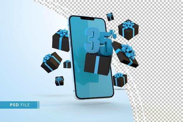 Cyber monday sale 35% rabatt auf digitale werbeaktionen mit smartphone und geschenkboxen