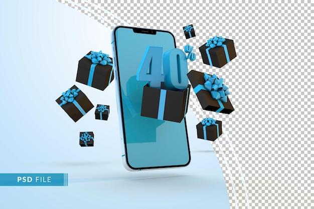 Cyber monday sale 40% rabatt auf digitale werbeaktionen mit smartphone und geschenkboxen