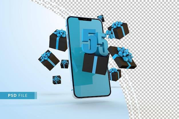 Cyber monday sale 55% rabatt auf digitale werbeaktionen mit smartphone und geschenkboxen