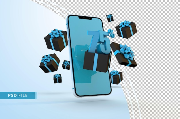 Cyber monday sale 75% rabatt auf digitale werbeaktionen mit smartphone und geschenkboxen