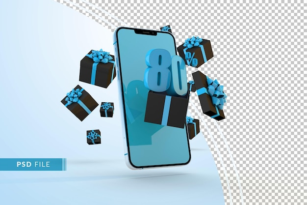 Cyber monday sale 80% rabatt auf digitale werbeaktionen mit smartphone und geschenkboxen