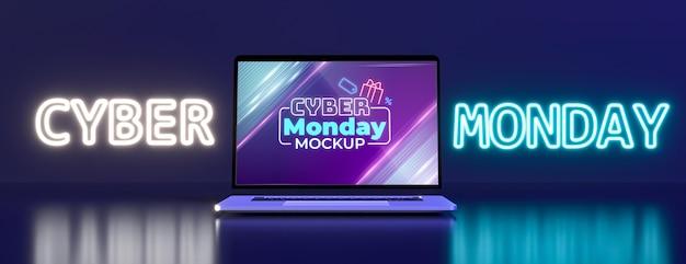 Cyber-montag-arrangement mit neuem laptop-modell