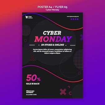 Cyber montag konzept flyer vorlage