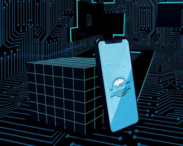 Cyber-montag-telefon auf futuristischem hintergrund