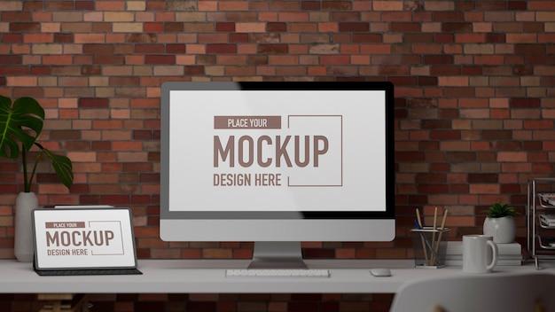 D rendering schreibtisch mit computer digital tablet büromaterial und dekorationen auf dem tisch