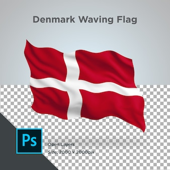 Dänemark flag wave transparent psd