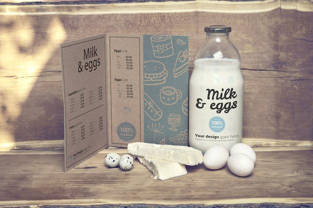Dairy farm menu mockup