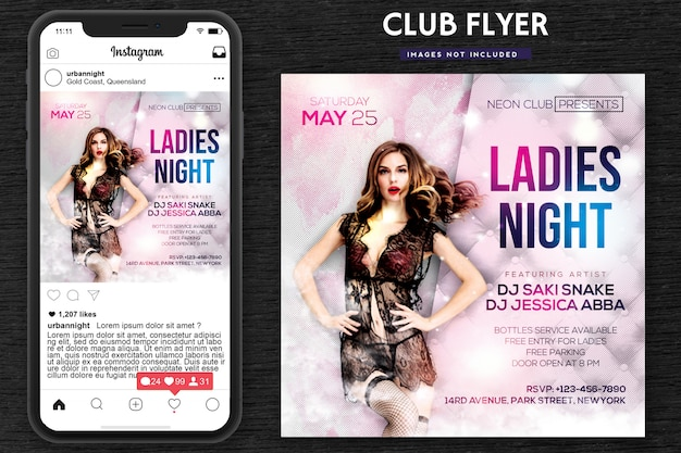 Damen night party flyer