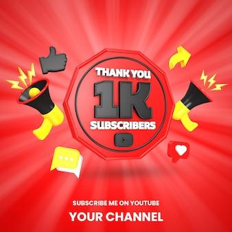 Danke 1k youtube-abonnenten feier 3d-rendering isoliert
