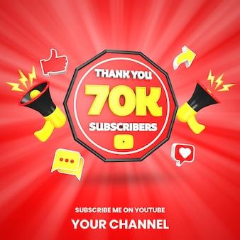 Danke 70k youtube-abonnenten feiern 3d-rendering isoliert