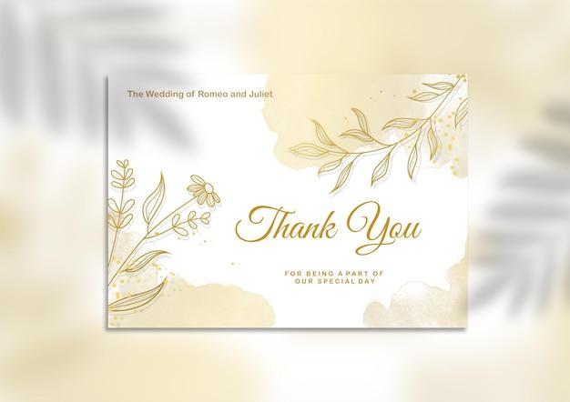 Dankeschön-hochzeitskartenvorlage mit goldener blume