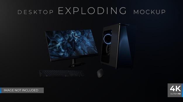Dark desktop exploding 3d render mockup