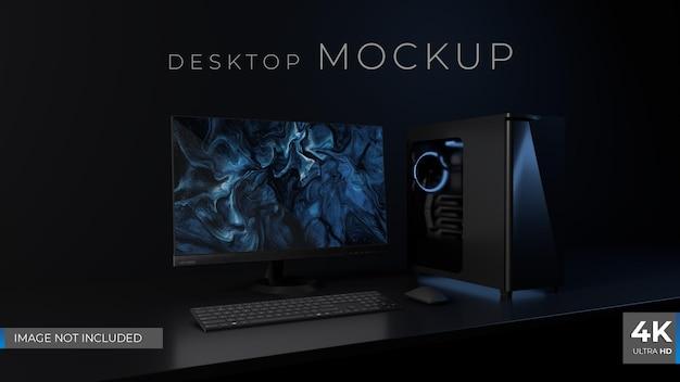 Dark desktop setup 3d render mockup