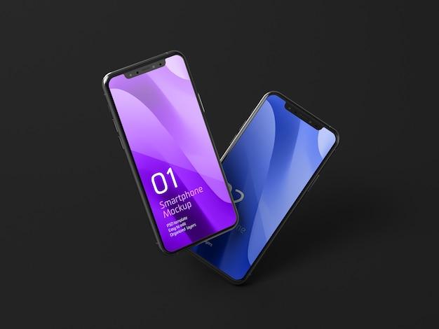 Dark mobile device mockup