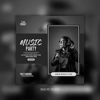 Dark music party flayer social template-design