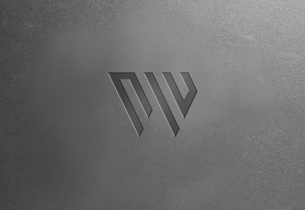 Dark plastic texture logo mockup