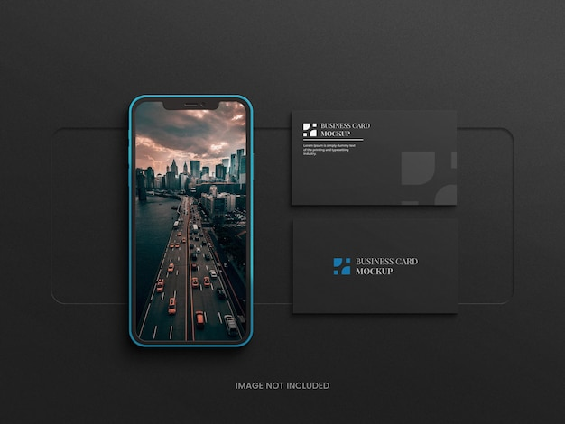Dark samrt phone mockup mit visitenkarte