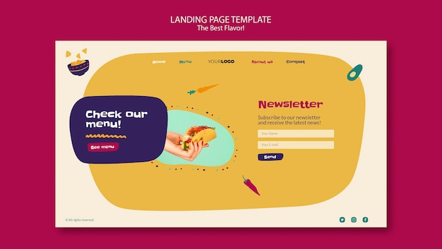 Das beste geschmacks-landingpage-design