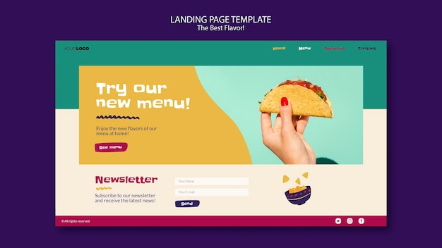Das beste geschmacks-landingpage-thema