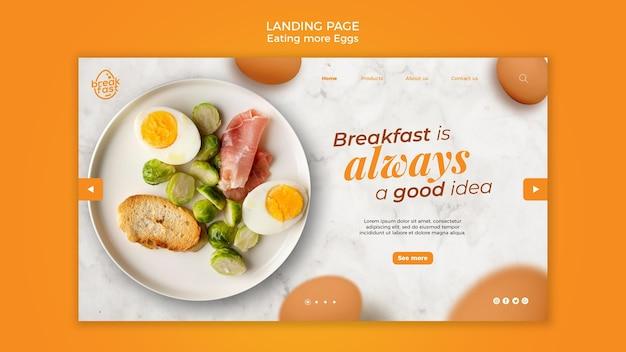 Das frühstück ist immer eine gute landingpage-vorlage