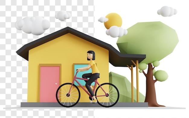 Das konzept einer 3d-darstellung einer frau, die ein fahrrad im dorf reitet