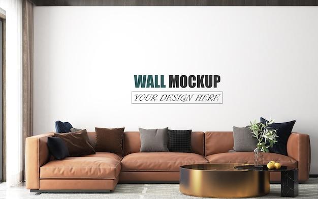 Das wohnzimmer hat ein braunes sofa wandmodell