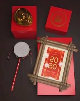 Dekorationen auf tabelle für chinesisches neues jahr