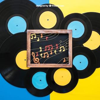 Dekorative vinyl-mockup mit schiefer