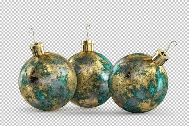 Dekorative weihnachtskugeln aus patiniertem messing. 3d-rendering