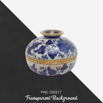 Dekorativer gemusterter keramikgegenstand mit deckel auf transparentem