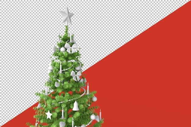 Dekorierter weihnachtsbaum im 3d-rendering