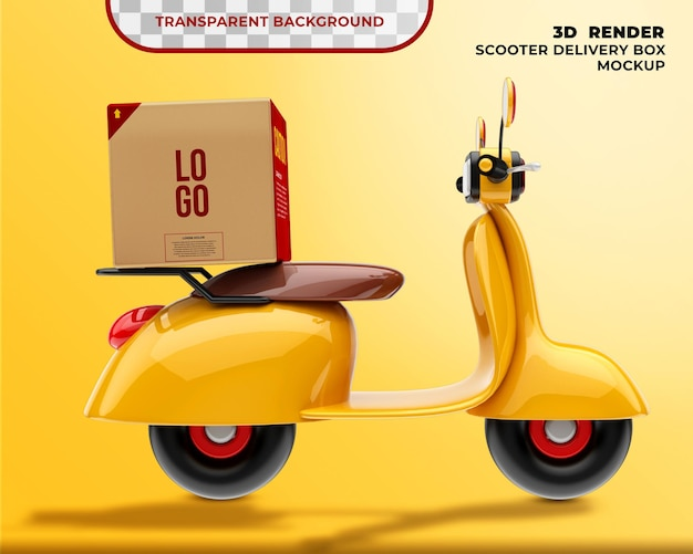 Delivery box mockup mit scooter 3d render