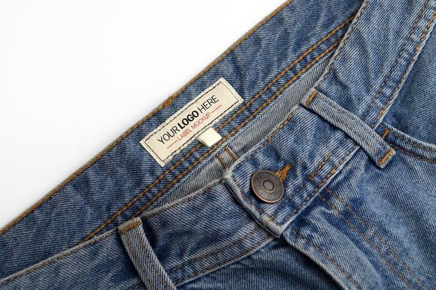 Denim pants label mockup
