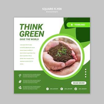 Denken sie grüne quadratische flyer vorlage