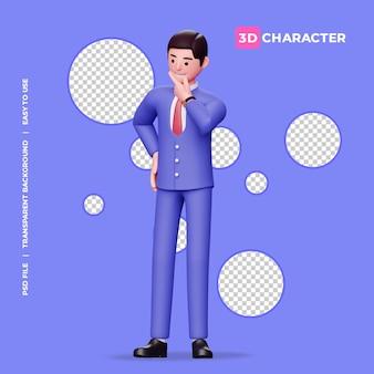 Denkende pose des männlichen charakters 3d mit transparentem hintergrund