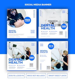 Dental health banner template set