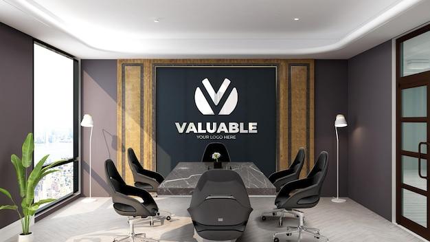 Der geschäftsbesprechungsraum an der bürowand 3d-logo-modell
