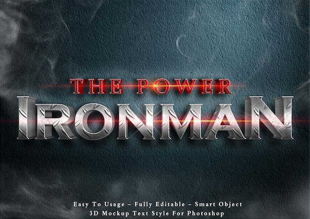 Der power ironman - 3d-textstil-effekt