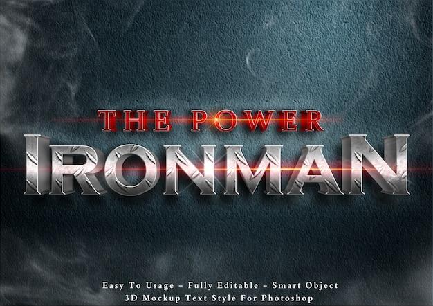 Der power ironman - 3d-textstil-effekt