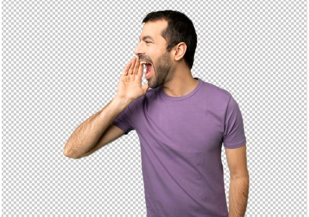 Der stattliche mann, der mit dem breiten mund schreit, öffnen sich zum seitlichen