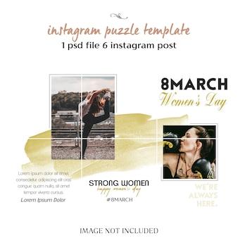 Der tag der glücklichen frauen und der 8. märz - begrüßung von instagram-puzzlespiel, raster oder collage-vorlage