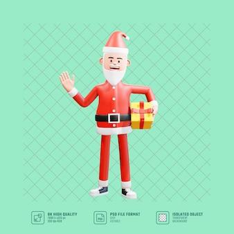Der weihnachtsmann hält ein geschenk an seiner taille und winkt mit der rechten hand und sagt hi3d-illustration der weihnachtsmann hält ein geschenk an seiner taille und winkt mit der rechten hand und sagt hallo