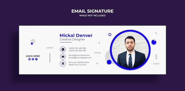 Design der e-mail-signaturvorlage oder e-mail-fußzeile und persönliche cover-vorlage für soziale medien